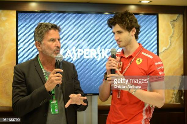 Enrico Zanarini CEO of MSM and Formula 1 Third Driver for Scuderia Ferrari Antonio Giovinazzi attends the Kaspersky Lab Hospitality Yacht during the...