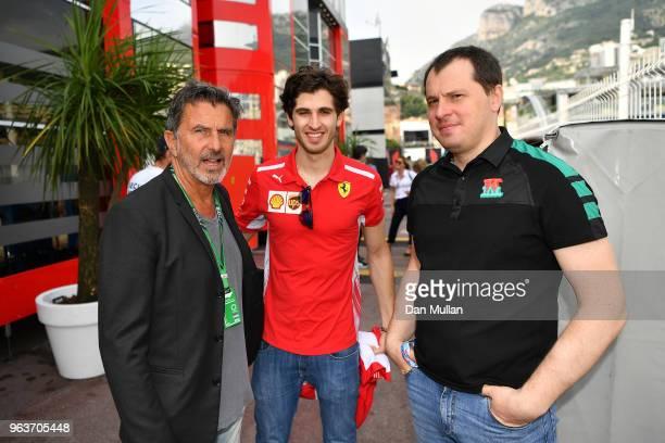 Enrico Zanarini CEO of MSM Antonio Giovinazzi Scuderia Ferrari third driver and Alexander Moiseev CBO at Kaspersky Lab during the Monaco Formula One...