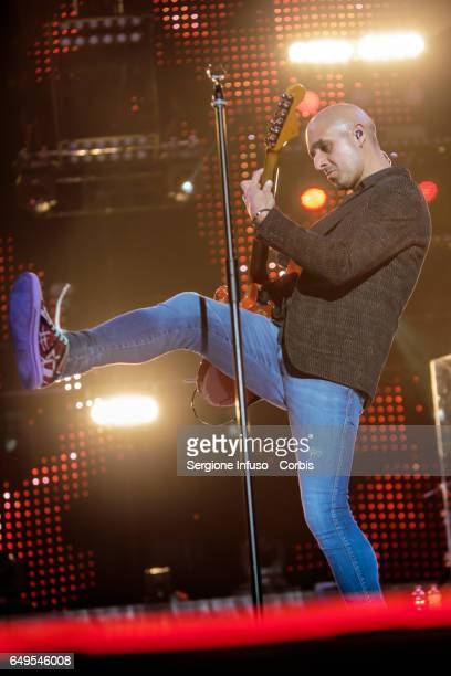 Enrico Zapparoli of Italian pop band Modà performs on stage on March 7 2017 in Milan Italy
