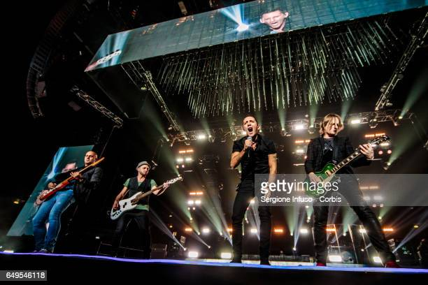 Enrico Zapparoli Stefano Forcella Kekko Silvestre and Diego Arrigoni of Italian pop band Modà perform on stage on March 7 2017 in Milan Italy