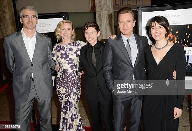 Enrique Alvarez actress Naomi Watts actor Tom Holland actor Ewan McGregor and Maria Belon attend the Los Angeles premiere of Summit Entertainment's...