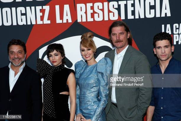 Enrique Arce Ursula Corbero Esther Acebo Luka Peros and Jaime Lorente attend the La Casa De Papel Premiere At Monnaie De Paris on July 15 2019 in...