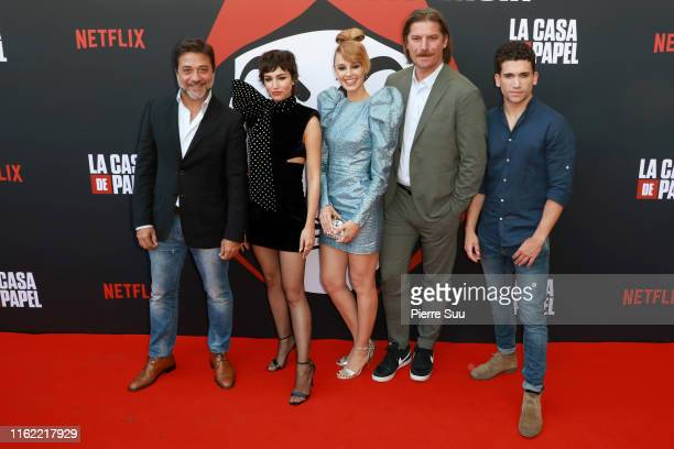 Enrique ArceUrsula CorberoEsther AceboLuka Peros and Jaime Lorento attend the La Casa De Papel Premiere At Monnaie De Paris on July 15 2019 in Paris...
