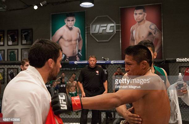 Enrique Barzola and Jonathan Ortega exchange words after thier fight during the filming of The Ultimate Fighter Latin America Team Gastelum vs Team...