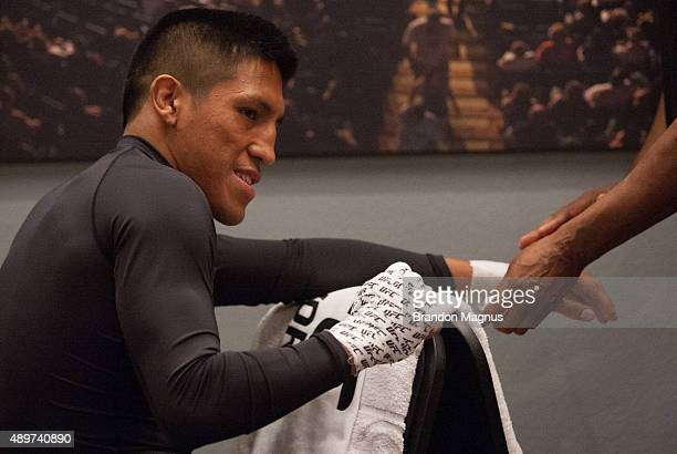Enrique Barzola gets his hands wrapped before facing Jonathan Ortega during the filming of The Ultimate Fighter Latin America Team Gastelum vs Team...