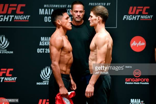 Enrique Barzola of Peru and Movsar Evloev of Russia face off during the UFC Fight Night weighin at the Mandarin Oriental on October 25 2019 in...