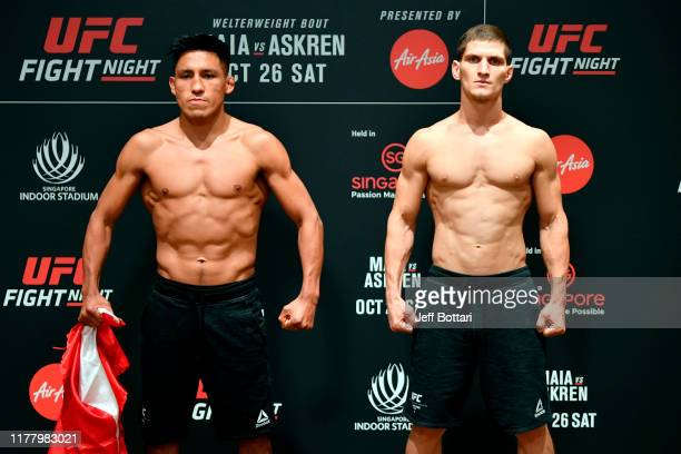Enrique Barzola of Peru and Movsar Evloev of Russia pose during the UFC Fight Night weighin at the Mandarin Oriental on October 25 2019 in Singapore...