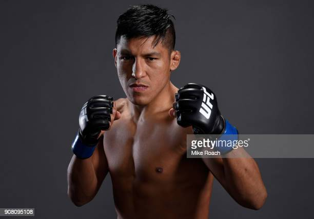 Enrique Barzola of Peru poses for a portrait backstage after his victory over Matt Bessette during the UFC 220 event at TD Garden on January 20 2018...