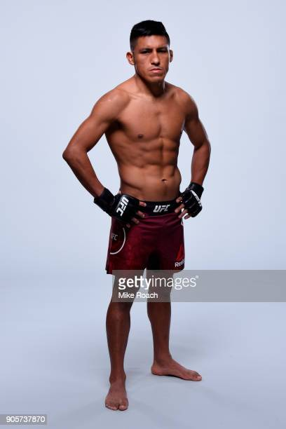 Enrique Barzola of Peru poses for a portrait during a UFC photo session on January 16 2018 in Boston Massachusetts