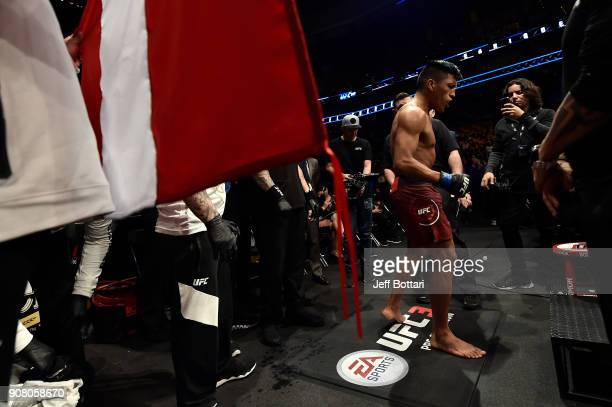 Enrique Barzola of Peru prepares to battle Matt Bessette in a featherweight bout during the UFC 220 event at TD Garden on January 20 2018 in Boston...