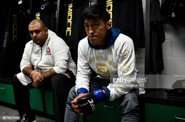 Enrique Barzola of Peru relaxes backstage during the UFC 220 event at TD Garden on January 20 2018 in Boston Massachusetts