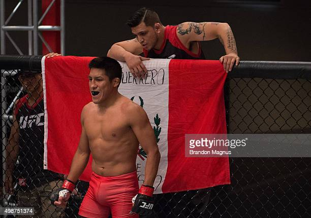 Enrique Barzola prepares for the round to begin before facing Cesar Arsamendia in their semifinals fight during the filming of The Ultimate Fighter...
