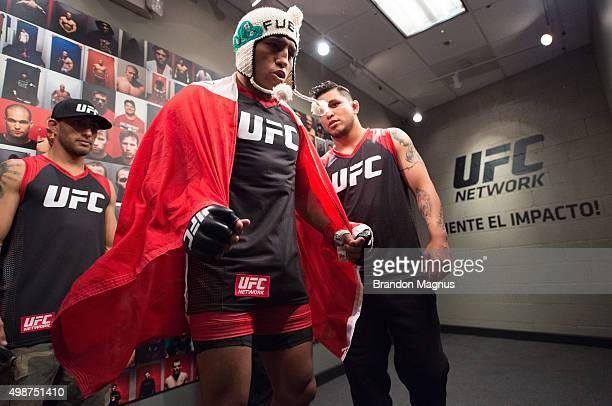 Enrique Barzola prepares to enter the Octagon before facing Cesar Arsamendia in their semifinals fight during the filming of The Ultimate Fighter...