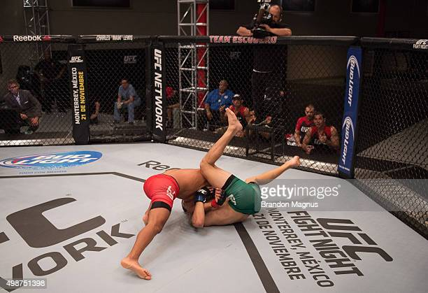 Enrique Barzola takes down Cesar Arsamendia in their semifinals fight during the filming of The Ultimate Fighter Latin America Team Gastelum vs Team...
