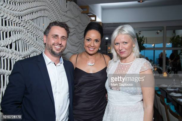 Enrique Campos Sandra Jordan and EditorinChief Anetta Nowosielska attend the Hamptons Magazines and Lladro Celebration of Onda Beauty with Host Naomi...