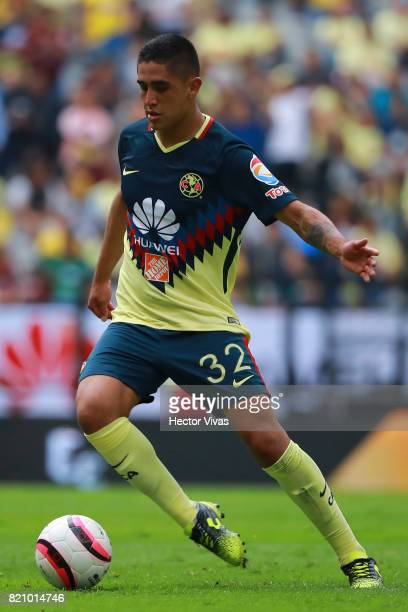 Enrique Cedillo of America drives the ball during the 1st round match between America and Queretaro as part of the Torneo Apertura 2017 Liga MX at...