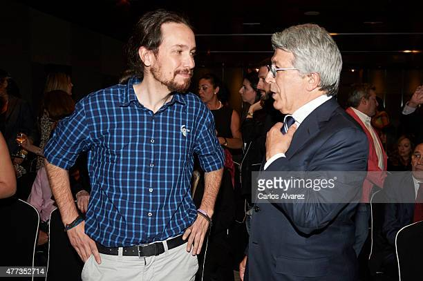 Enrique Cerezo and Party Podemos leader Pablo Iglesias attend the Naranja y Limon awards 2015 at the Sheraton Hotel on June 16 2015 in Madrid Spain