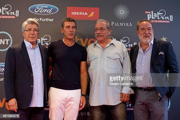 Enrique Cerezo Antonio Banderas Edward James Olmos and Adrian Soler attend a photocall before the TNTLA Platino Awards 2015 press conference at Hotel...