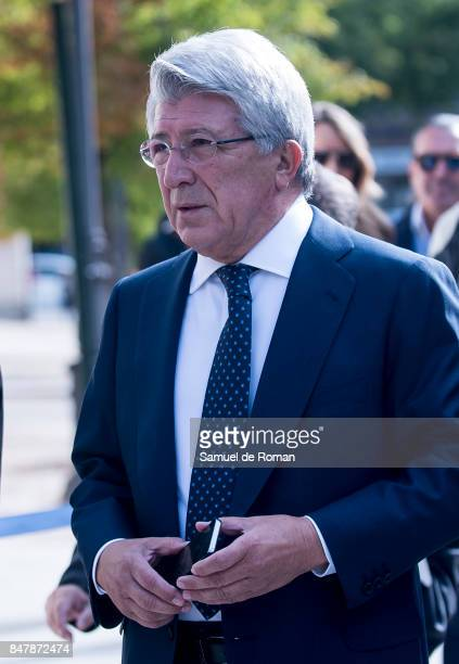 Enrique Cerezo arrives to the Funeral Tribute For Angel Nieto in Madrid on September 16 2017 in Madrid Spain