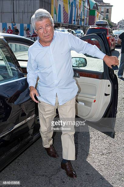 Enrique Cerezo attends the funeral chapel for Lina Morgan at 'La Latina' theatre on August 20 2015 in Madrid Spain
