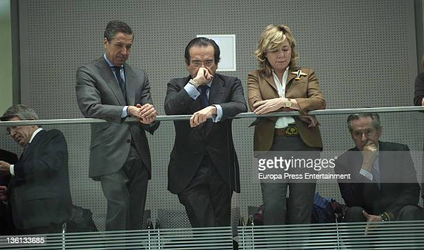 Enrique Cerezo Eduardo Zaplana Pilar del Castillo and Miguel Blesa attend the investiture of Ana Botella as Madrid mayor during a ceremony at Palacio...