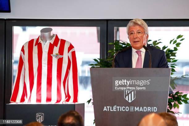 Enrique Cerezo President of Atletico de Madridduring the inauguration of the monument tribute to AtleticoAviacion celebrated at Wanda Metropolitano...