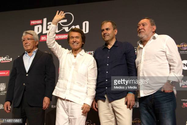 Enrique Cerezo Raphael Miguel Angel Benzal and Adrian Solar after a press conference to present the winner of the 2019 Platino Honorary Award before...