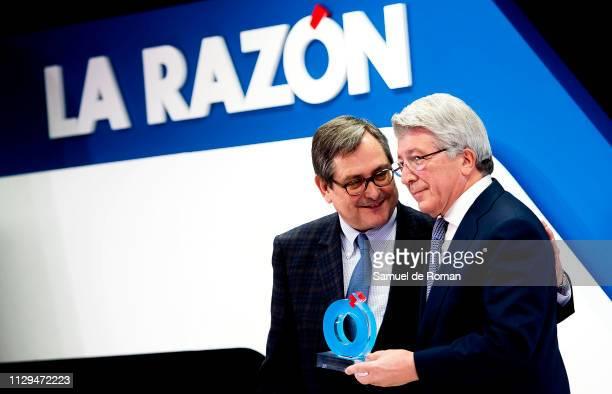 Enrique Cerezo receives from Francisco Marhueda the 'Comunidad de Madrid' Award on February 13 2019 in Madrid Spain