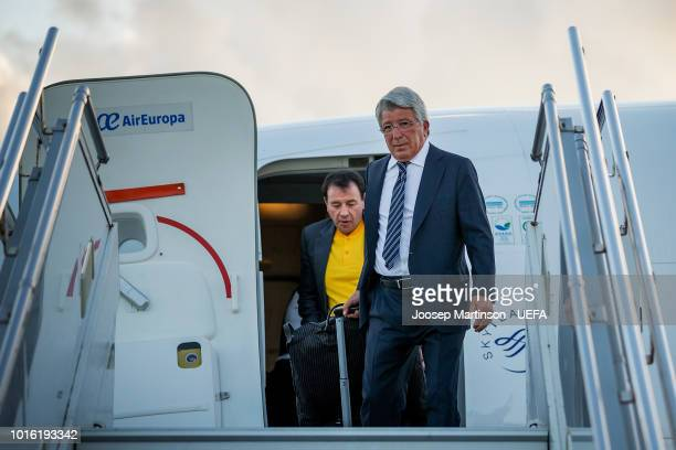 Enrique Cerezo the president of Atletico Madrid arrives at Tallinn Airport ahead of the UEFA Super Cup on August 13 2018 in Tallinn Estonia