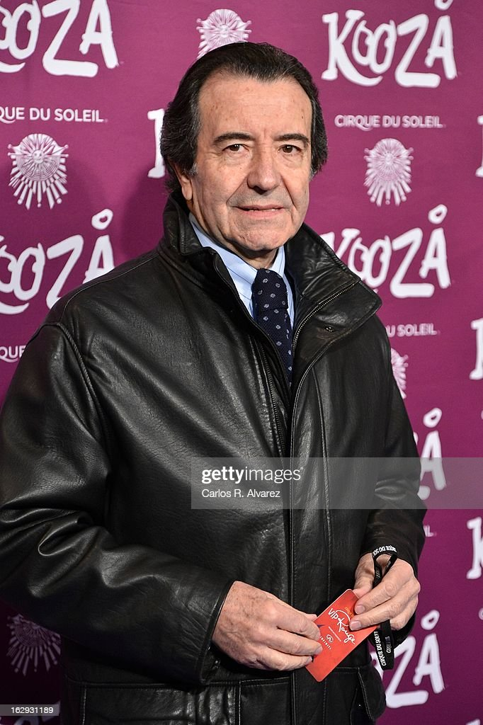Enrique Cornejo attends 'Cirque Du Soleil' Kooza 2013 premiere on March 1, 2013 in Madrid, Spain.