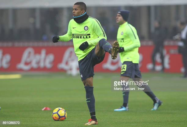 Enrique Dalbert of FC Internazionale warms up ahead of the TIM Cup match between FC Internazionale and Pordenone at Stadio Giuseppe Meazza on...
