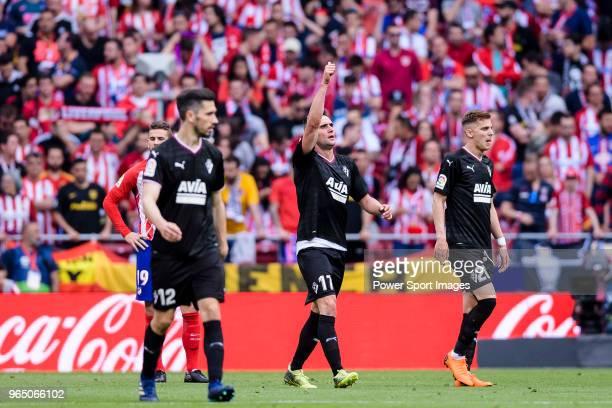 Enrique Garcia of SD Eibar gestures during the La Liga match between Atletico Madrid and Eibar at Wanda Metropolitano Stadium on May 20 2018 in Madrid