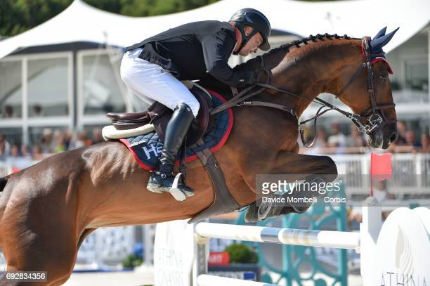 Enrique Gonzalez of Mexico riding Chacna during the Longines Grand Prix Athina Onassis Horse Show on June 3 2017 in St Tropez France