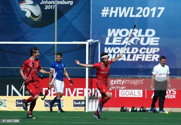 Enrique Gonzalez of Spain celebrates his goal during day 4 of the FIH Hockey World League Men's Semi Finals Pool A match between France and Spain at...