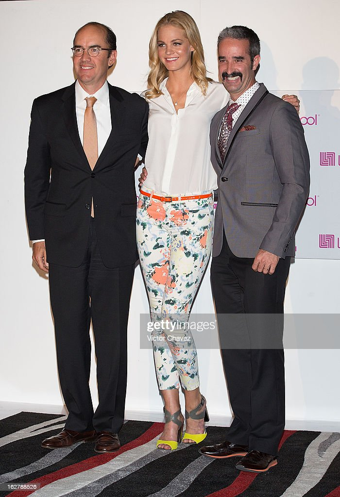 Enrique Guzman of Liverpool store staff, top model Erin Heatherton and Ignacio Aguiriano of Liverpool store staff attend a press conference during the Liverpool Fashion Fest Spring/Summer 2013 at Liverpool Polanco on February 26, 2013 in Mexico City, Mexico.