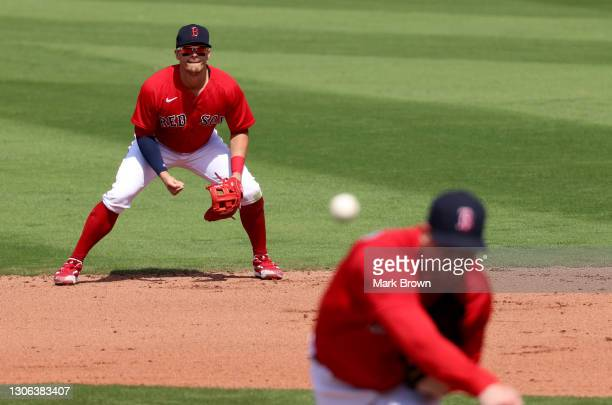 Enrique Hernandez of the Boston Red Sox watches the pitch by Adam Ottavino in the fourth inning against the Atlanta Braves in a spring training game...