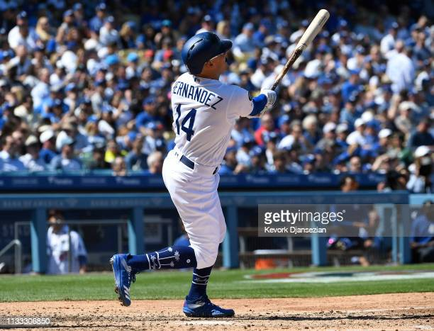 Enrique Hernandez of the Los Angeles Dodgers hits a two run home run against pitcher Zack Greinke of the Arizona Diamondbacks during the fourth...