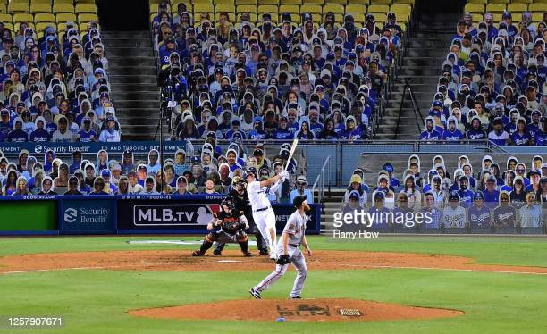 Enrique Hernandez of the Los Angeles Dodgers hits a two run homerun off of Conner Menez of the San Francisco Giants, to take an 8-1 lead during the...