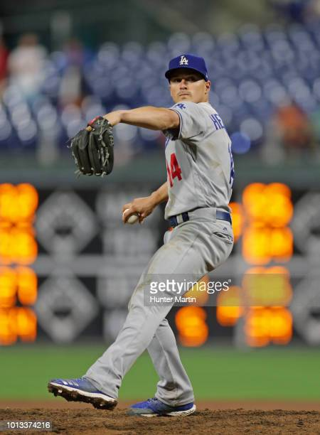 Enrique Hernandez of the Los Angeles Dodgers pitches during a game against the Philadelphia Phillies at Citizens Bank Park on July 24 2018 in...