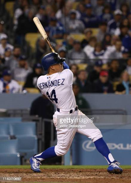 Enrique Hernandez of the Los Angeles Dodgers pulls a pitch foul to left field in the seventh inning of the MLB game against the San Francisco Giants...