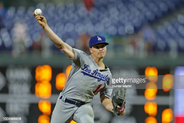 Enrique Hernandez of the Los Angeles Dodgers throws a pitch in the 16th inning during a game against the Philadelphia Phillies at Citizens Bank Park...