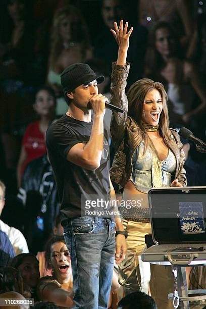 Enrique Iglesias and Jackie Guerrido during 2005 Premios Juventud Awards Show at University of Miami Convocation Center in Miami Florida United States