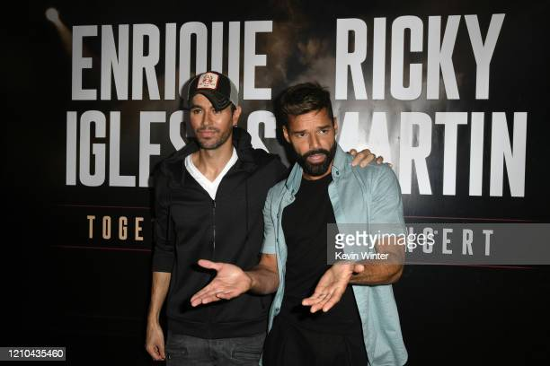 Enrique Iglesias and Ricky Martin hold a press conference at Penthouse at the London West Hollywood on March 4, 2020 in West Hollywood, California.