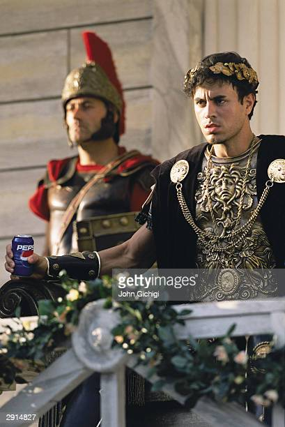 Enrique Iglesias during the making of the Pepsi music commercial 'Pepsi Gladiators' in Rome on September 22 2003 in Italy