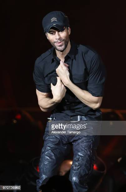 Enrique Iglesias is seen performing during the Mix Live! presented by Uforia concert at the AmericanAirlines Arena on June 9, 2018 in Miami, Florida.
