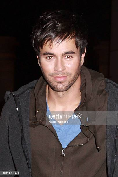 Enrique Iglesias leaves NRJ Radio on January 17 2011 in Paris France