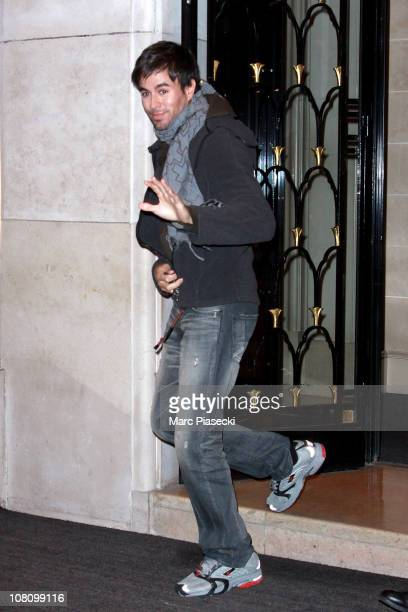 Enrique Iglesias leaves the Four Seasons George V Hotel on January 17 2011 in Paris France