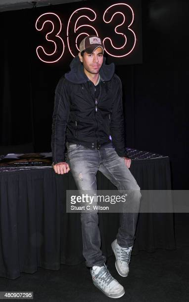 Enrique Iglesias meets fans and signs copies of his new album 'Sex Love' at HMV Oxford Street on March 27 2014 in London England