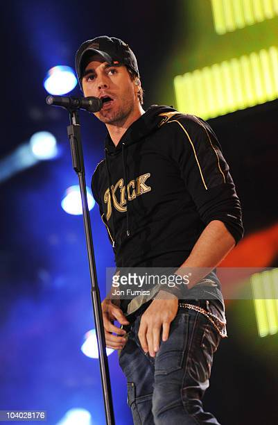 Enrique Iglesias on stage at the Heroes Concert at Twickenham Stadium on September 12 2010 in London England