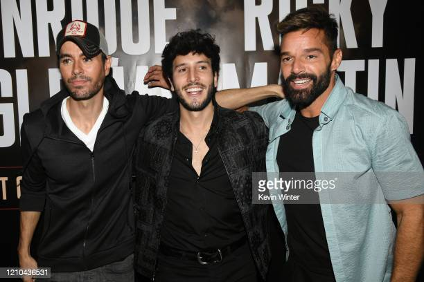 Enrique Iglesias Sebastián Yatra and Ricky Martin hold a press conference at Penthouse at the London West Hollywood on March 4 2020 in West Hollywood...